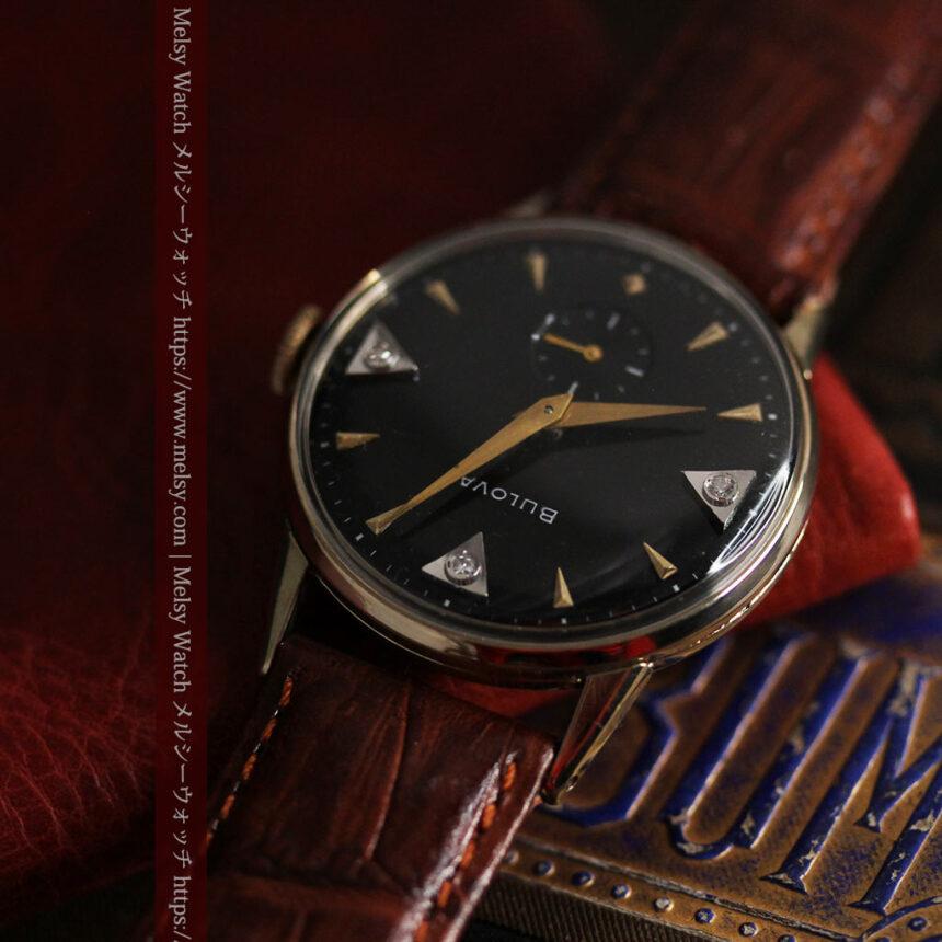 黒と金銀・ダイヤのコントラスト・ブローバのアンティーク腕時計 【1953年製】-W1493-5