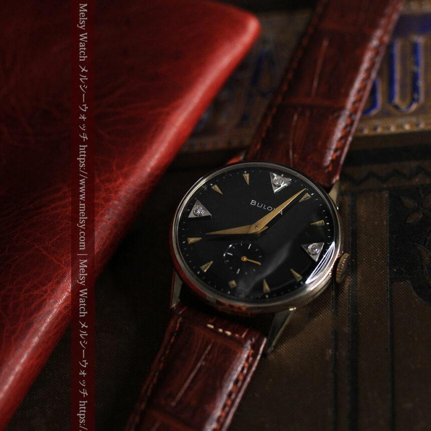 黒と金銀・ダイヤのコントラスト・ブローバのアンティーク腕時計 【1953年製】-W1493-6