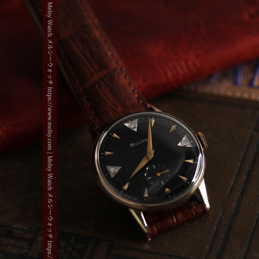 黒と金銀・ダイヤのコントラスト・ブローバのアンティーク腕時計 【1953年製】-W1493-7