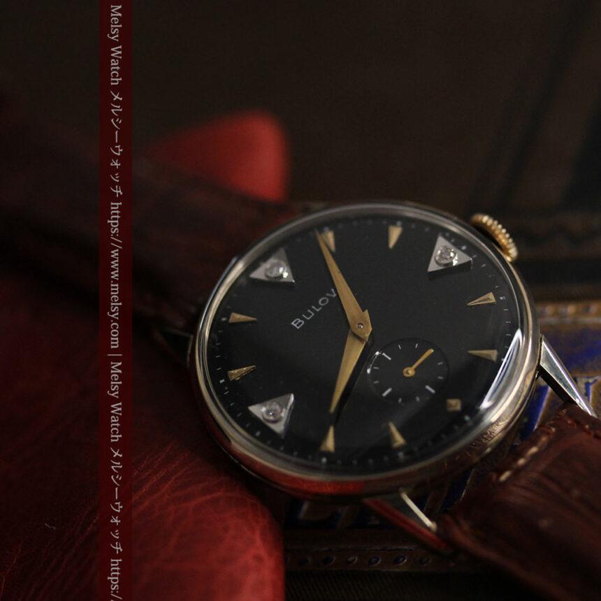 黒と金銀・ダイヤのコントラスト・ブローバのアンティーク腕時計 【1953年製】-W1493-8