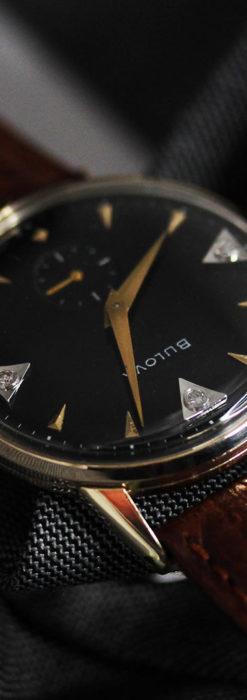 黒と金銀・ダイヤのコントラスト・ブローバのアンティーク腕時計 【1953年製】-W1493-9