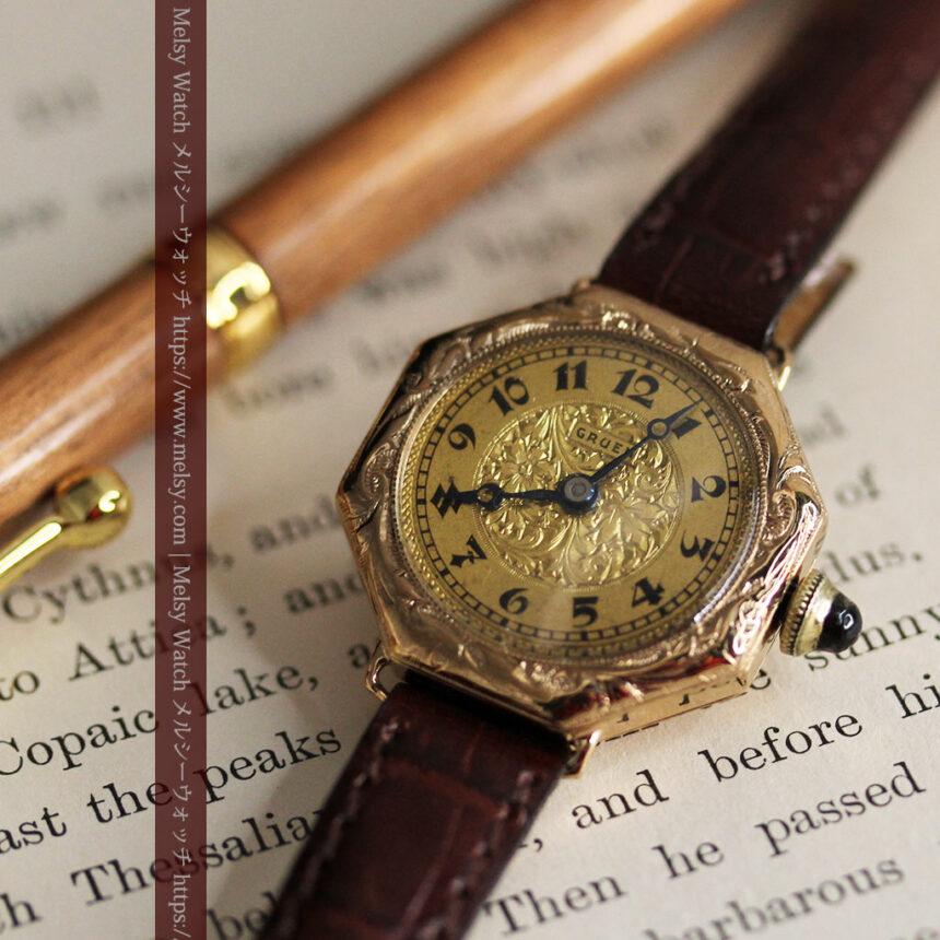 美しき古典 華あるグリュエンの女性用アンティーク腕時計 【1920年頃】-W1494-10