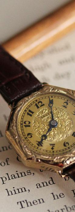 美しき古典 華あるグリュエンの女性用アンティーク腕時計 【1920年頃】-W1494-11