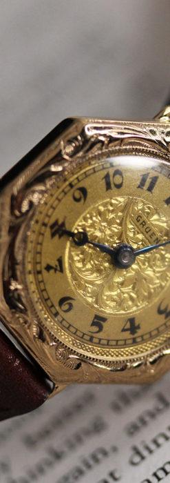 美しき古典 華あるグリュエンの女性用アンティーク腕時計 【1920年頃】-W1494-12