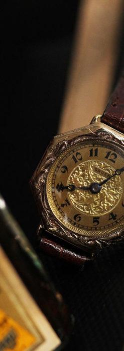 美しき古典 華あるグリュエンの女性用アンティーク腕時計 【1920年頃】-W1494-5