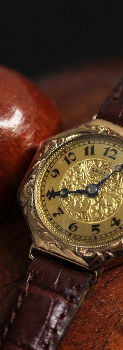 美しき古典 華あるグリュエンの女性用アンティーク腕時計 【1920年頃】-W1494-6