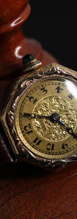 美しき古典 華あるグリュエンの女性用アンティーク腕時計 【1920年頃】-W1494-7