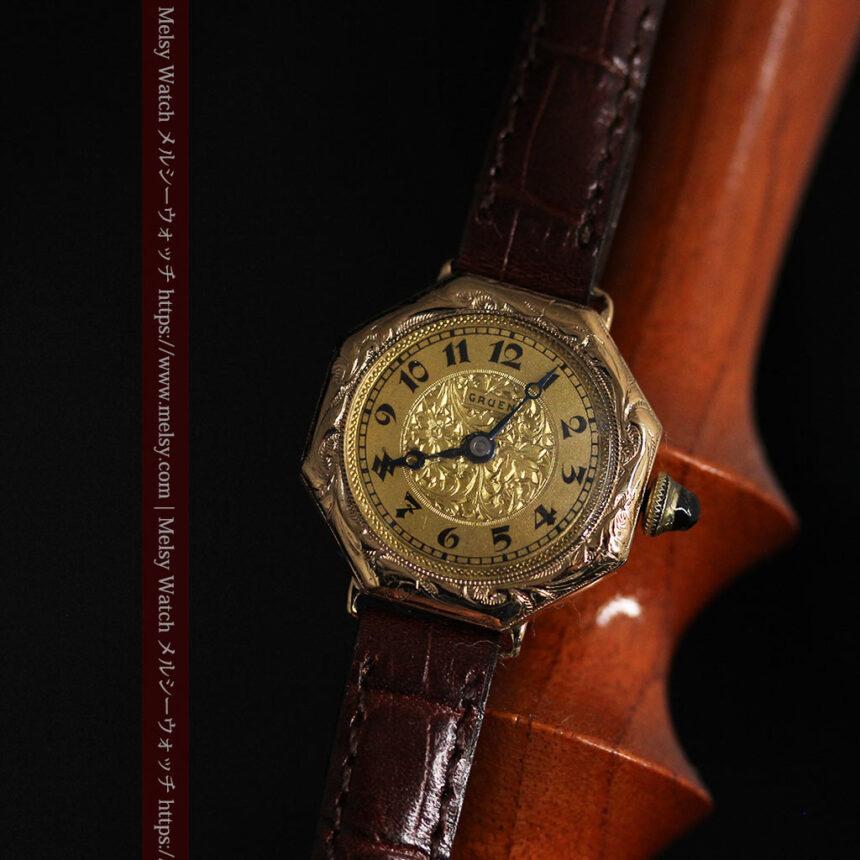 美しき古典 華あるグリュエンの女性用アンティーク腕時計 【1920年頃】-W1494-8