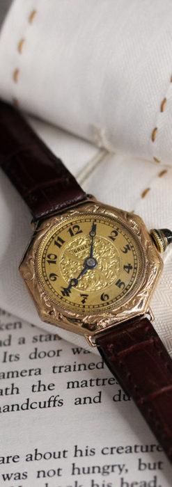 美しき古典 華あるグリュエンの女性用アンティーク腕時計 【1920年頃】-W1494-9