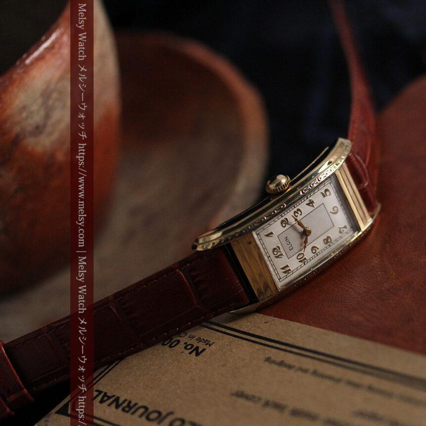 エルジン 装飾と曲線の美しいエレガントなアンティーク腕時計 【1937年製】-W1495-1