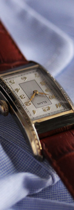 エルジン 装飾と曲線の美しいエレガントなアンティーク腕時計 【1937年製】-W1495-10