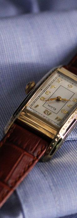 エルジン 装飾と曲線の美しいエレガントなアンティーク腕時計 【1937年製】-W1495-11