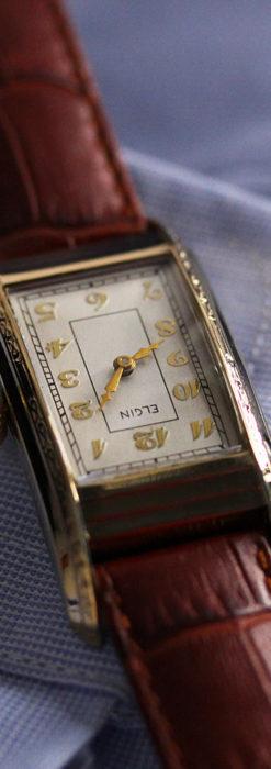エルジン 装飾と曲線の美しいエレガントなアンティーク腕時計 【1937年製】-W1495-12