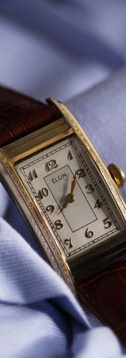 エルジン 装飾と曲線の美しいエレガントなアンティーク腕時計 【1937年製】-W1495-13