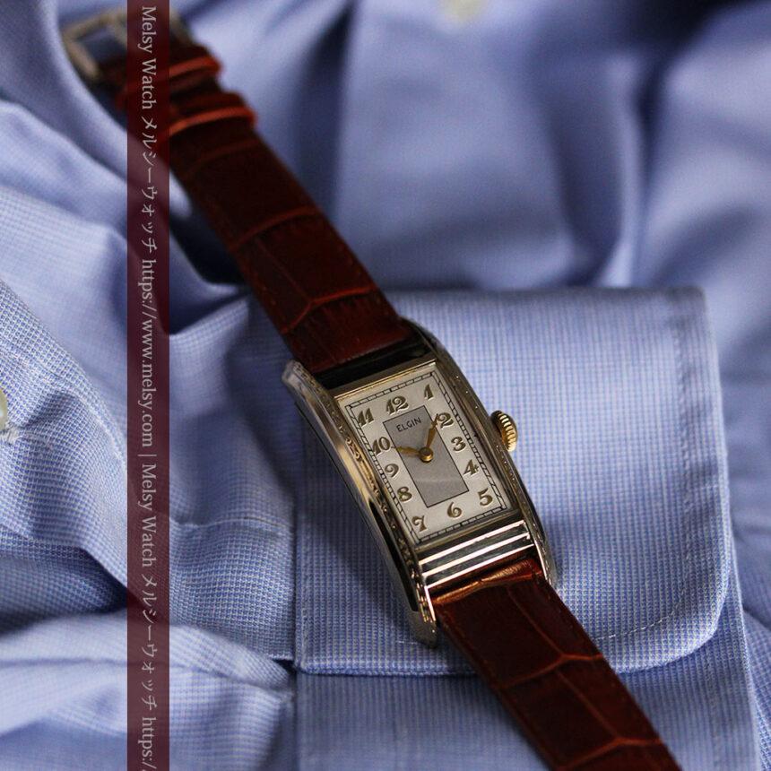 エルジン 装飾と曲線の美しいエレガントなアンティーク腕時計 【1937年製】-W1495-14