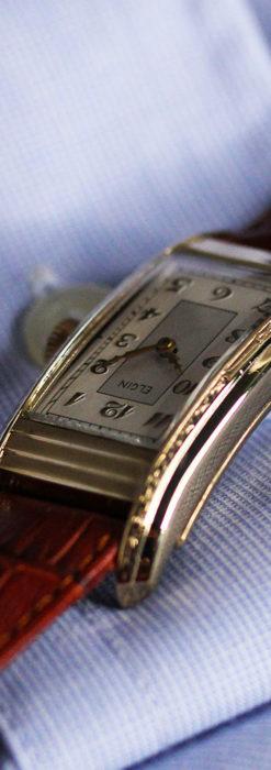 エルジン 装飾と曲線の美しいエレガントなアンティーク腕時計 【1937年製】-W1495-15