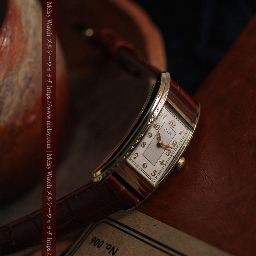 エルジン 装飾と曲線の美しいエレガントなアンティーク腕時計 【1937年製】-W1495-2