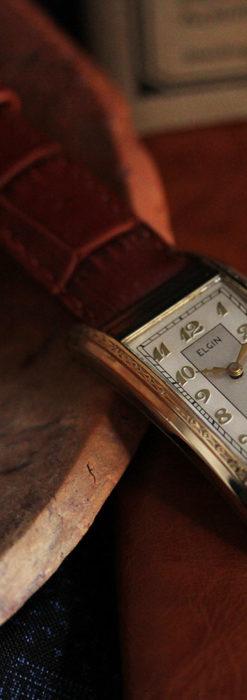 エルジン 装飾と曲線の美しいエレガントなアンティーク腕時計 【1937年製】-W1495-4