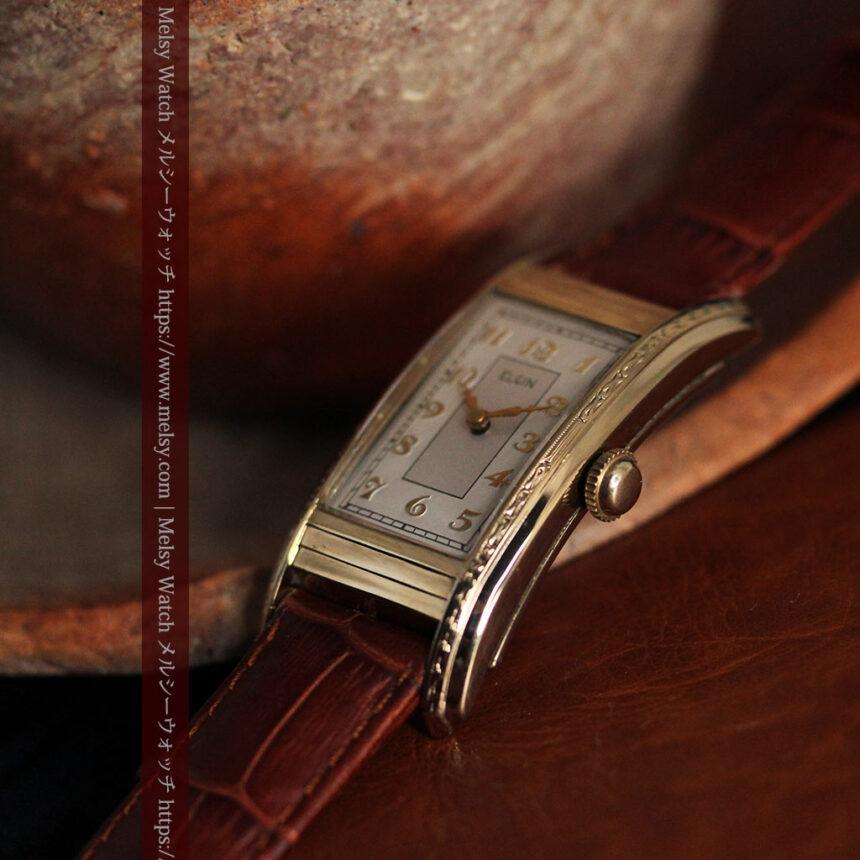 エルジン 装飾と曲線の美しいエレガントなアンティーク腕時計 【1937年製】-W1495-5