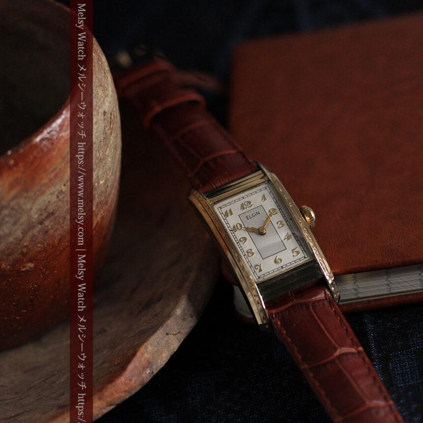エルジン 装飾と曲線の美しいエレガントなアンティーク腕時計 【1937年製】-W1495-6