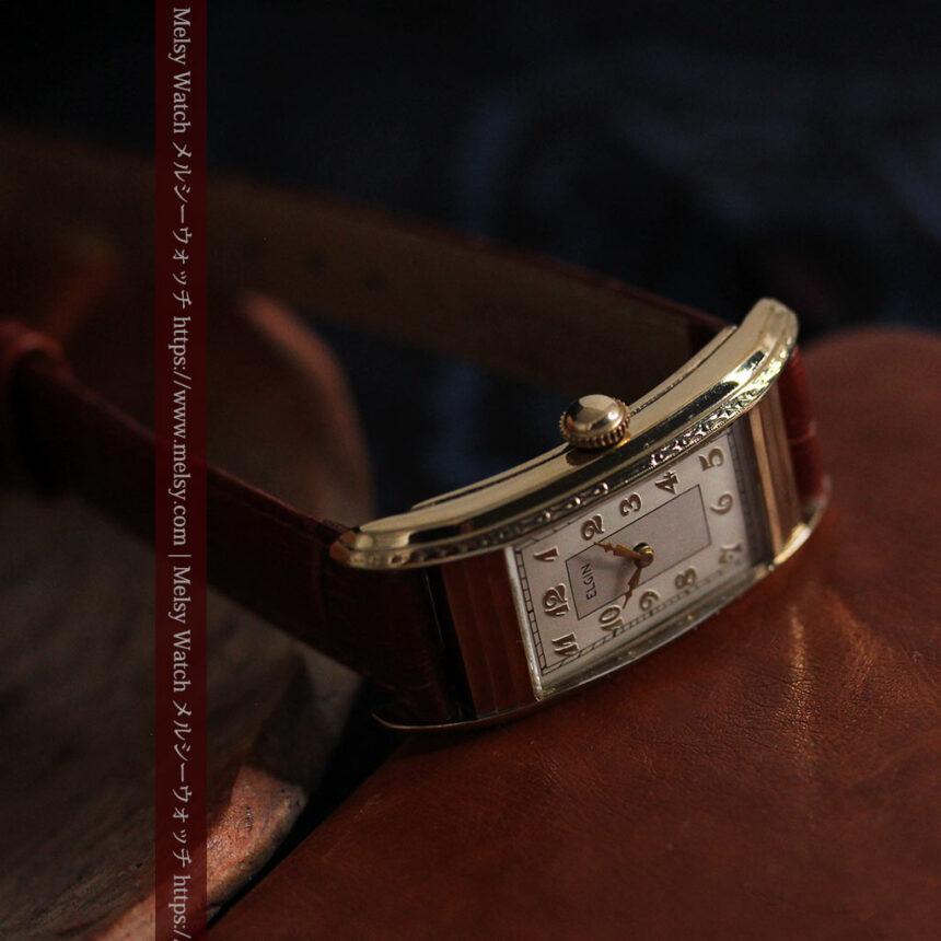 エルジン 装飾と曲線の美しいエレガントなアンティーク腕時計 【1937年製】-W1495-7
