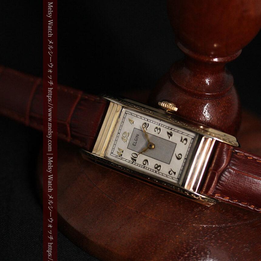 エルジン 装飾と曲線の美しいエレガントなアンティーク腕時計 【1937年製】-W1495-8