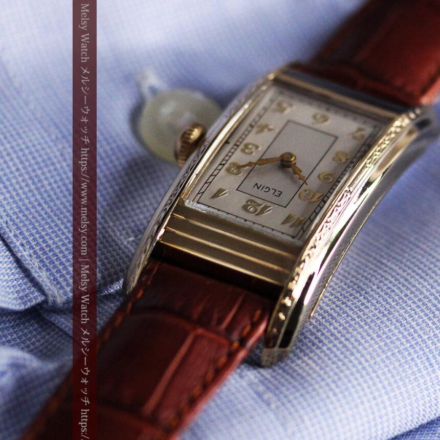 エルジン 装飾と曲線の美しいエレガントなアンティーク腕時計 【1937年製】-W1495-9