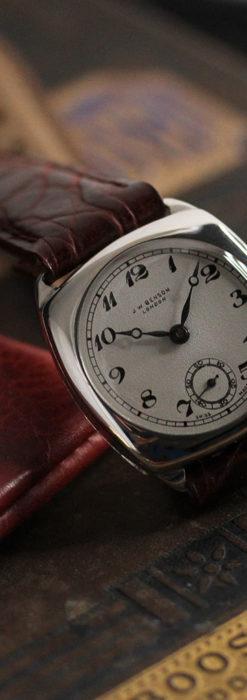 英国ベンソン 上品な騎士の彫りと銀無垢アンティーク腕時計 【1937年頃】-W1498-11