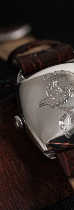 英国ベンソン 上品な騎士の彫りと銀無垢アンティーク腕時計 【1937年頃】-W1498-13