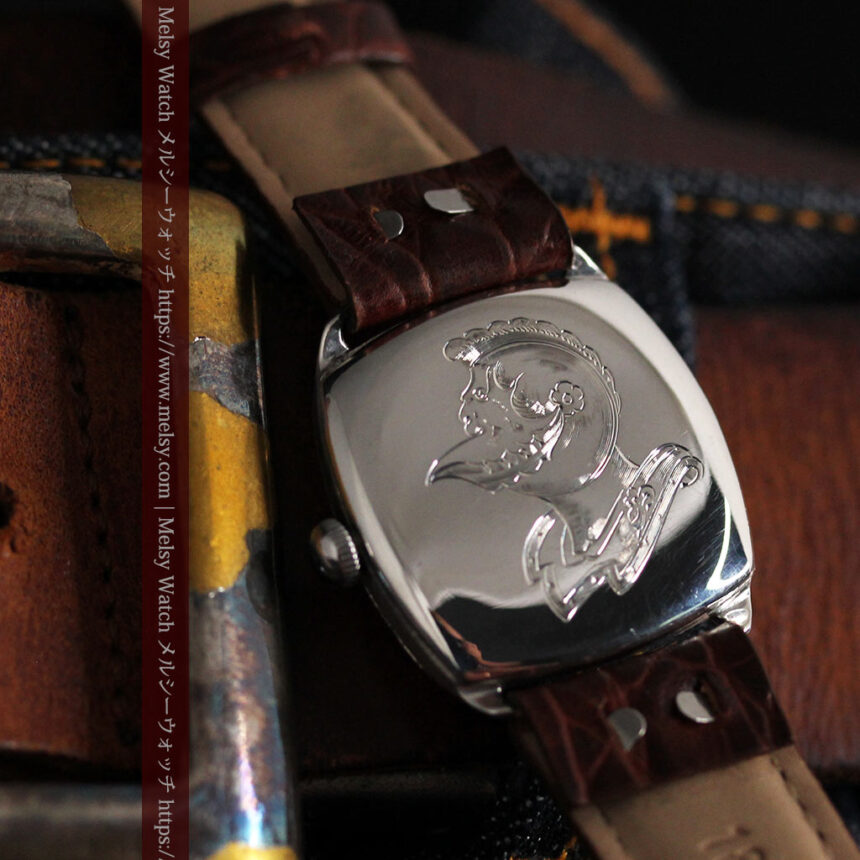 英国ベンソン 上品な騎士の彫りと銀無垢アンティーク腕時計 【1937年頃】-W1498-14
