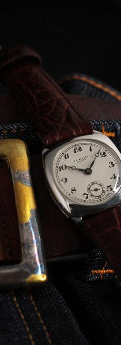英国ベンソン 上品な騎士の彫りと銀無垢アンティーク腕時計 【1937年頃】-W1498-16