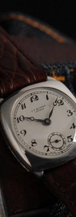 英国ベンソン 上品な騎士の彫りと銀無垢アンティーク腕時計 【1937年頃】-W1498-17