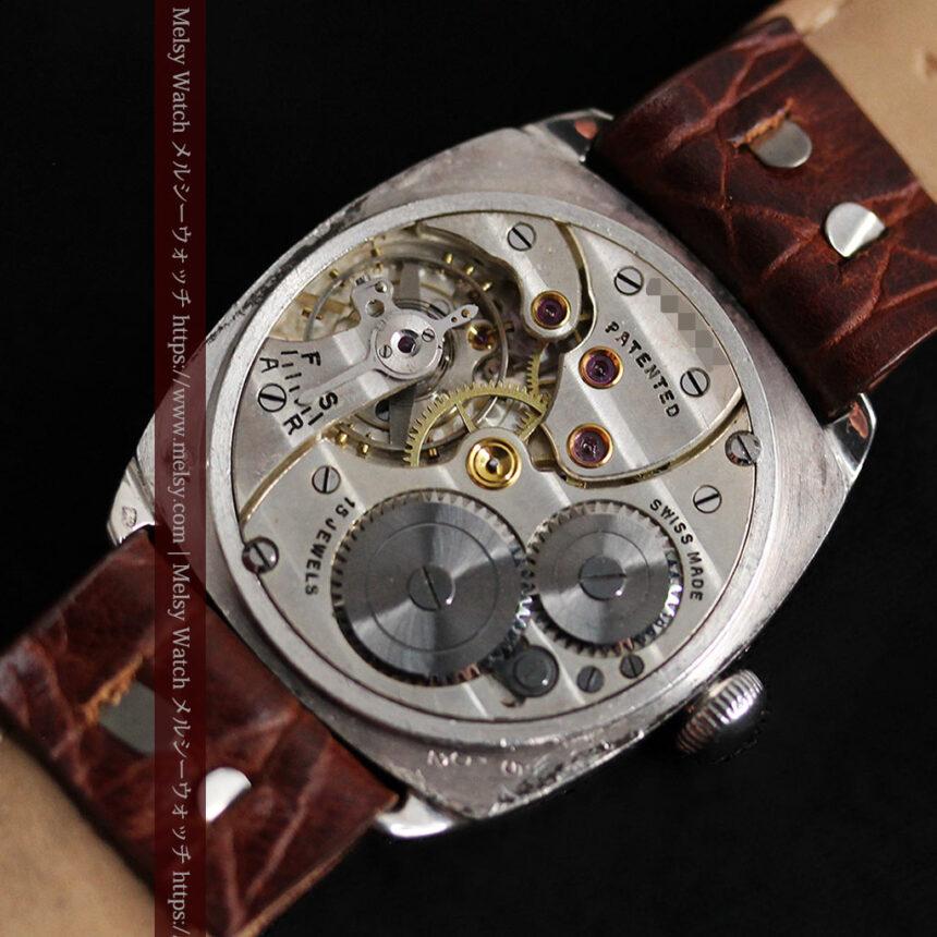 英国ベンソン 上品な騎士の彫りと銀無垢アンティーク腕時計 【1937年頃】-W1498-20