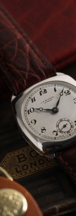 英国ベンソン 上品な騎士の彫りと銀無垢アンティーク腕時計 【1937年頃】-W1498-3