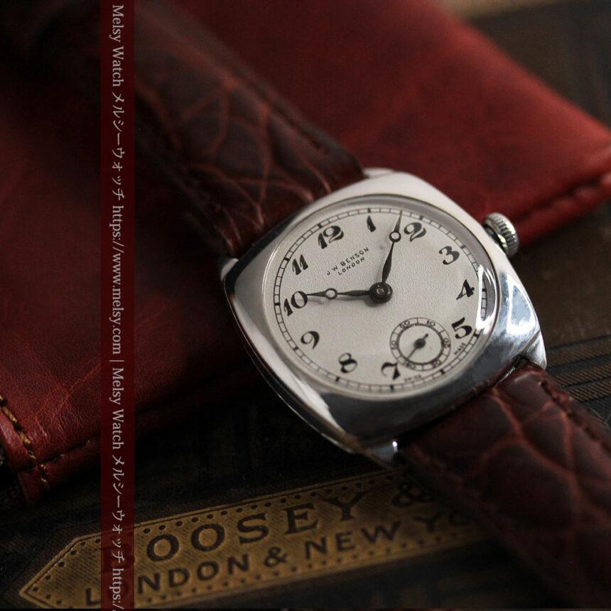 英国ベンソン 上品な騎士の彫りと銀無垢アンティーク腕時計 【1937年頃】-W1498-6