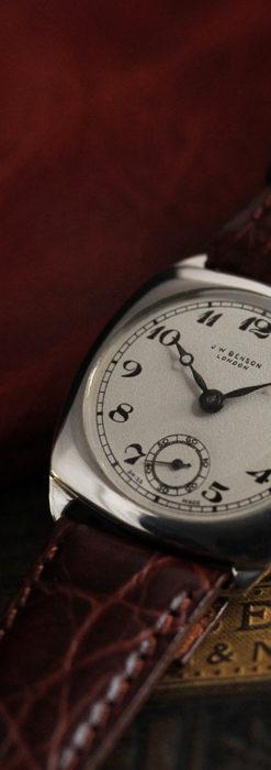 英国ベンソン 上品な騎士の彫りと銀無垢アンティーク腕時計 【1937年頃】-W1498-7