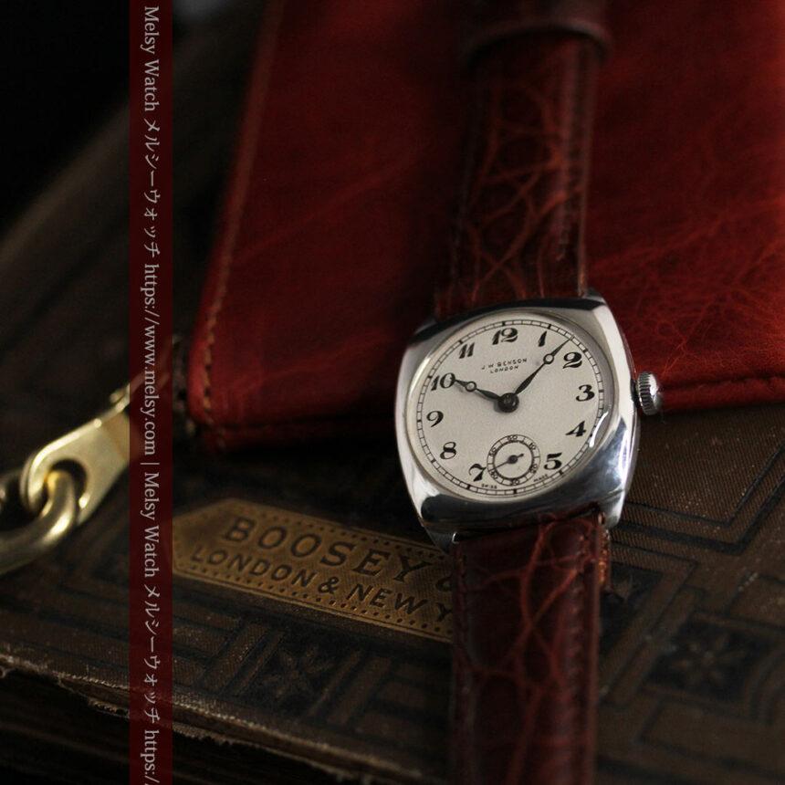 英国ベンソン 上品な騎士の彫りと銀無垢アンティーク腕時計 【1937年頃】-W1498-8