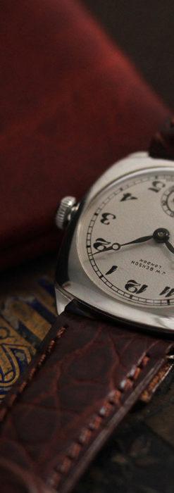 英国ベンソン 上品な騎士の彫りと銀無垢アンティーク腕時計 【1937年頃】-W1498-9