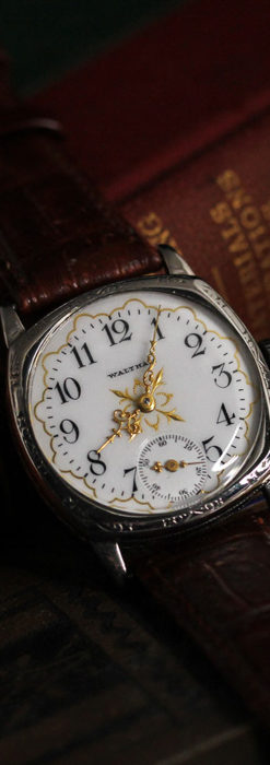 ウォルサムのアンティーク腕時計 十字が輝く金彩装飾 【1906年製】-W1500-10