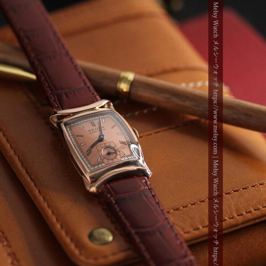 グリュエン ラッピング装飾されたようなローズ色の腕時計-W1502-1
