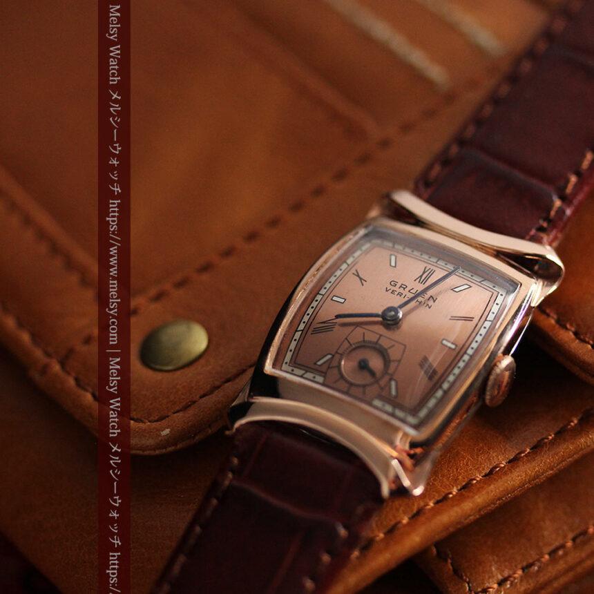 グリュエン ラッピング装飾されたようなローズ色の腕時計-W1502-10