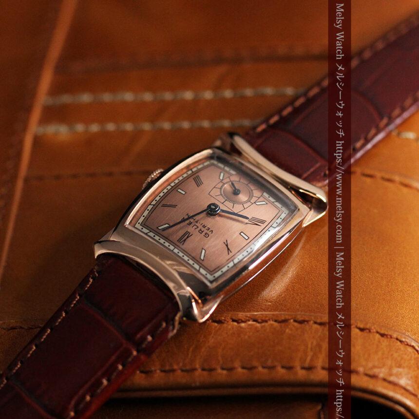 グリュエン ラッピング装飾されたようなローズ色の腕時計-W1502-11