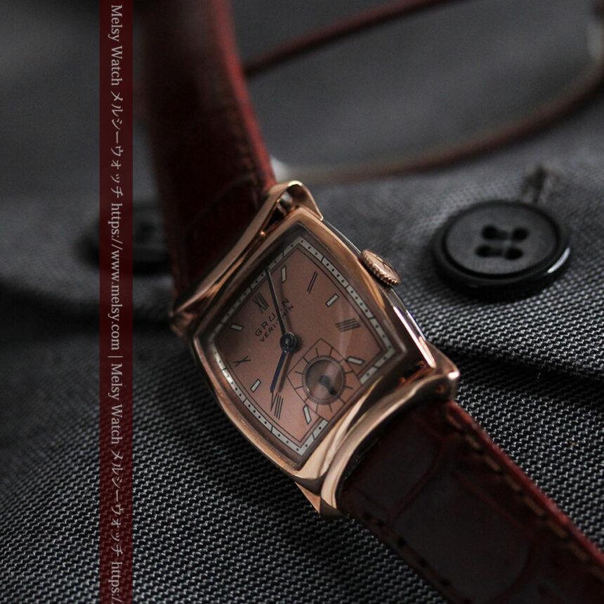 グリュエン ラッピング装飾されたようなローズ色の腕時計-W1502-12