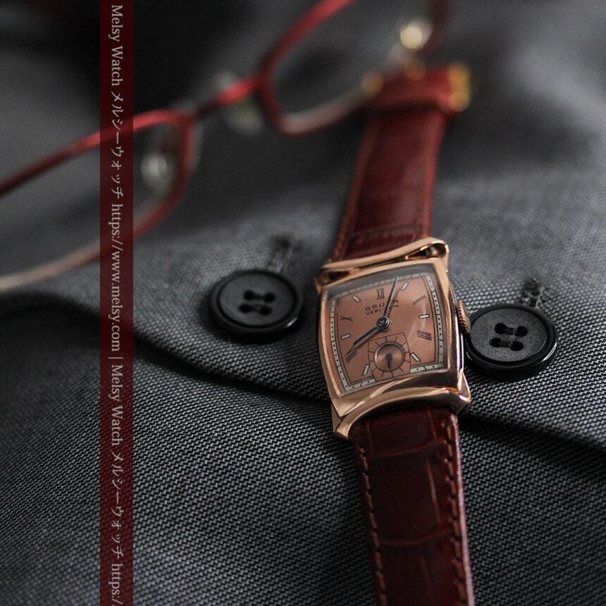 グリュエン ラッピング装飾されたようなローズ色の腕時計-W1502-4