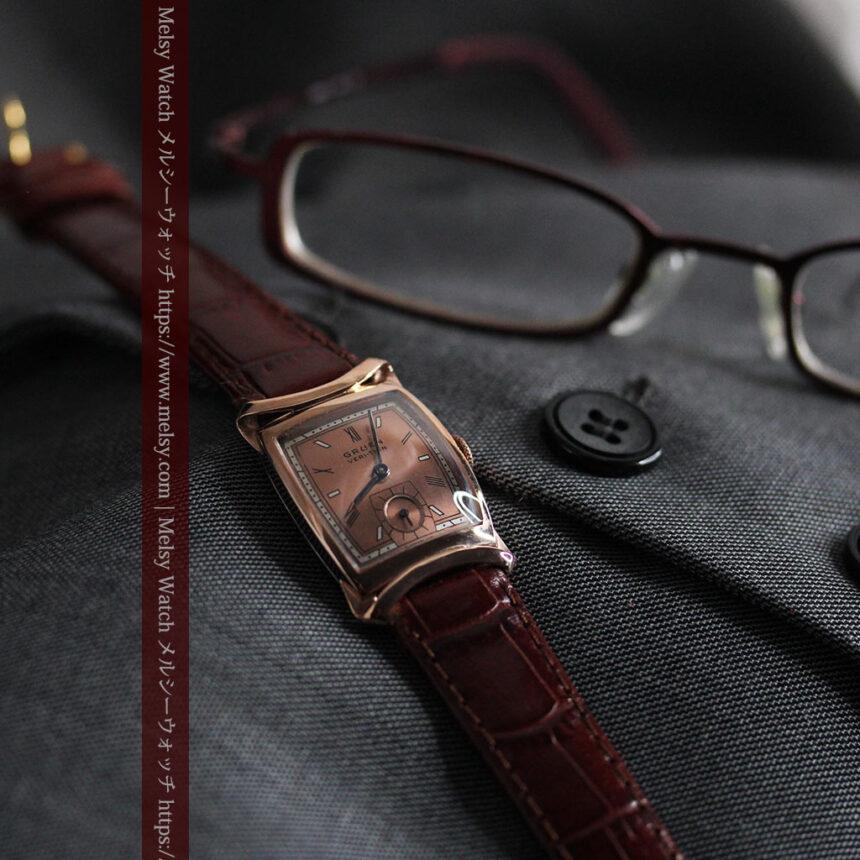 グリュエン ラッピング装飾されたようなローズ色の腕時計-W1502-5