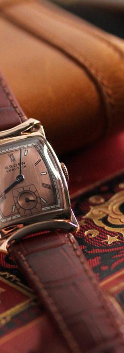 グリュエン ラッピング装飾されたようなローズ色の腕時計-W1502-7
