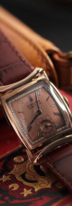 グリュエン ラッピング装飾されたようなローズ色の腕時計-W1502-8
