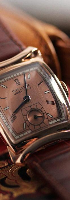 グリュエン ラッピング装飾されたようなローズ色の腕時計-W1502-9