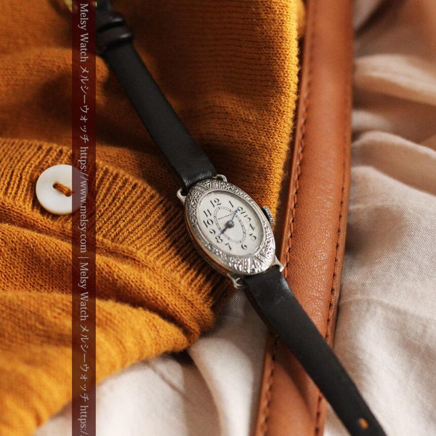 細工の綺麗なウォルサムの婦人物アンティーク腕時計 【1931年製】-W1504-8