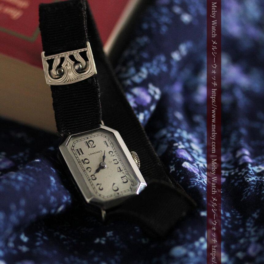 ロンジン 長八角形と布バンドの女性用アンティーク腕時計 【1926年製】-W1506-1